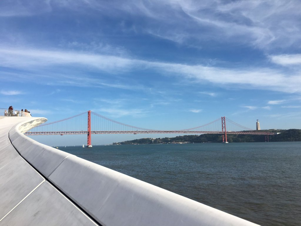 Ponte 25 de Abril bridge visible from the promenade